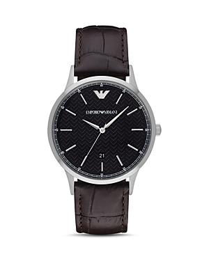 Emporio Armani Leather Strap Watch, 43mm