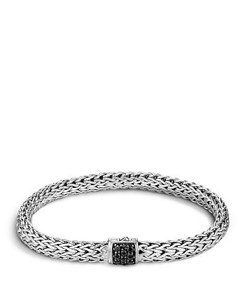 JOHN HARDY - Classic Chain Sterling Silver Lava Small Bracelet with Black Sapphire