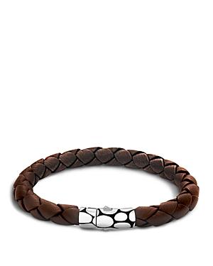 John Hardy Men's Kali Silver Brown Woven Leather Bracelet