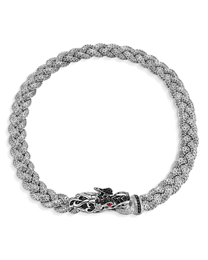John Hardy Accessories STERLING SILVER NAGA MEDIUM BRAIDED CHAIN DRAGON HEAD NECKLACE WITH BLACK SAPPHIRES AND RUBY EYES, 1