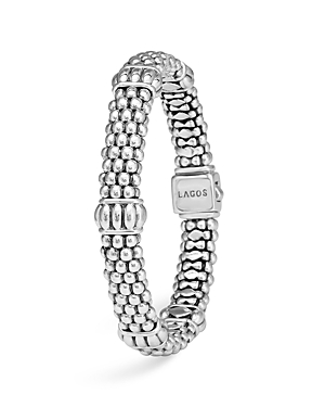 Lagos Signature Sterling Silver Fluted Station Caviar Bracelet