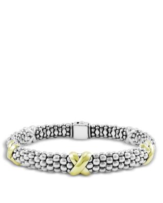 18K Yellow Gold and Sterling Silver Caviar Bracelet