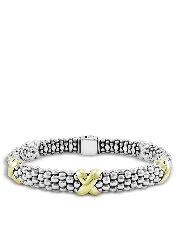 LAGOS - 18K Yellow Gold and Sterling Silver Caviar Bracelet