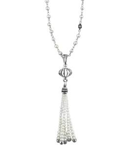"LAGOS - LAGOS Sterling Silver Luna Pearl Tassel Pendant Necklace, 36"""