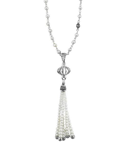 "LAGOS - Sterling Silver Luna Pearl Tassel Pendant Necklace, 36"""