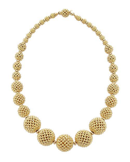 "LAGOS - 18K Gold Caviar Graduated Lattice Ball Statement Necklace, 16"""