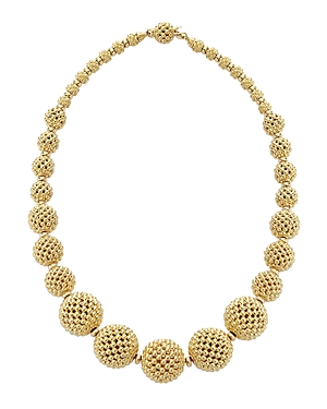 Lagos 18K Gold Caviar Graduated Lattice Ball Statement Necklace, 16