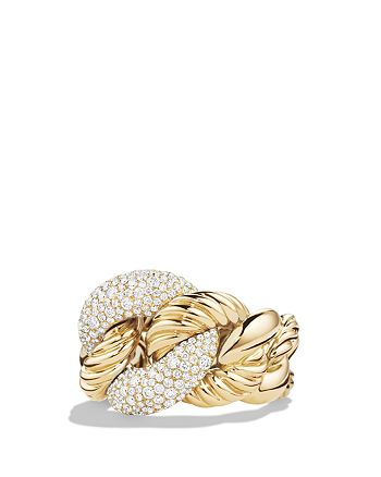 David Yurman - Belmont Curb Link Ring with Diamonds in 18K Gold