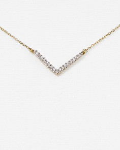Adina Reyter - Diamond Pavé V Pendant Necklace, 15""