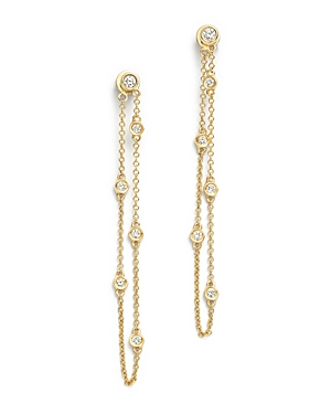Diamond Station Drop Earrings in 14K Yellow Gold, .30 ct. t.w. - 100% Exclusive