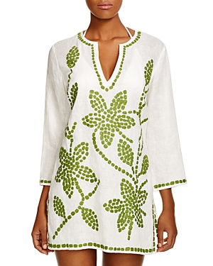 Tory Burch Embroidered Floral Tunic Swim Cover-Up