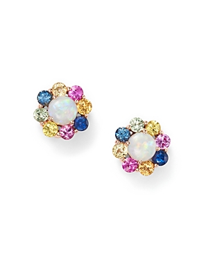 Multi Sapphire and Opal Earrings in 14K Rose Gold - 100% Exclusive