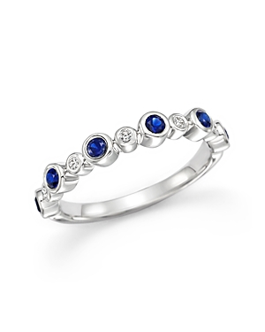 Sapphire and Diamond Ring in 14K White Gold - 100% Exclusive