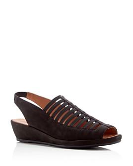 Gentle Souls by Kenneth Cole - Women's Lee Nubuck Leather Slingback Wedge Sandals