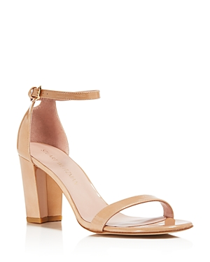 Stuart Weitzman Nearlynude Patent Leather Ankle Strap Sandals