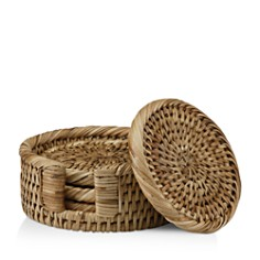 The French Chefs Rattan Round Coasters & Holder, Set of 4 - Bloomingdale's Registry_0