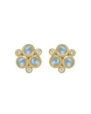 Temple St. Clair Classic Trio Earrings with Royal Blue Moonstone and Diamonds in 18K Yellow Gold