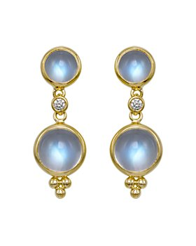 Temple St. Clair - Temple St. Clair Double Drop Earrings with Royal Blue Moonstone and Diamond in 18K Yellow Gold