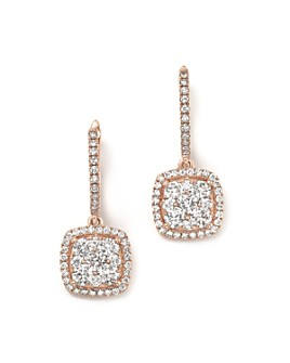Bloomingdale's - Diamond Pavé Drop Earrings in 14K Rose Gold, 1.35 ct. t.w. - 100% Exclusive
