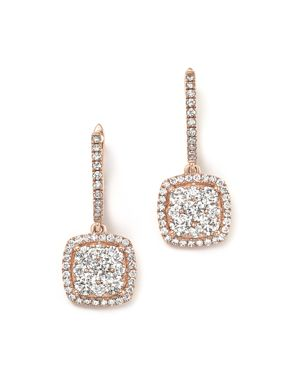 Diamond Pave Drop Earrings in 14K Rose Gold, 1.35 ct. t.w. - 100% Exclusive
