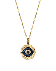 "Bloomingdale's - White Diamond, Black Diamond and Blue Sapphire Evil Eye Pendant Necklace in 12K Yellow Gold, 18"" - 100% Exclusive"