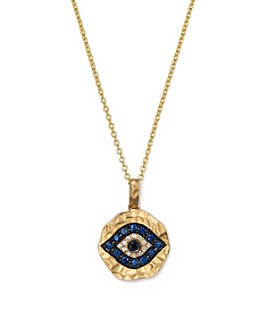 """Bloomingdale's - White Diamond, Black Diamond and Blue Sapphire Evil Eye Pendant Necklace in 12K Yellow Gold, 18""""- 100% Exclusive"""