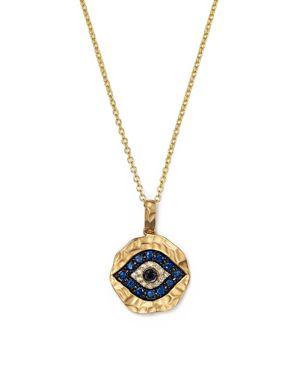 White Diamond, Black Diamond and Sapphire Evil Eye Pendant Necklace in 12K Yellow Gold, 18