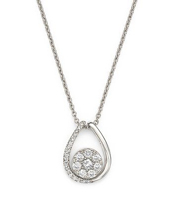Bloomingdale's - Diamond Cluster Teardrop Pendant Necklace in 14K White Gold, .35 ct. t.w. - 100% Exclusive
