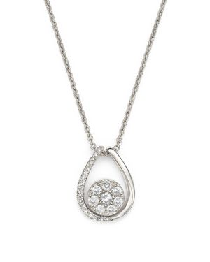 Diamond Cluster Teardrop Pendant Necklace in 14K White Gold, .35 ct. t.w.