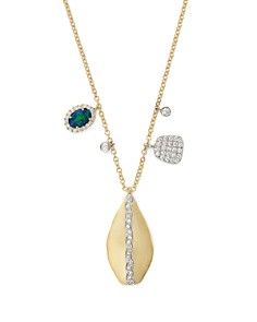 Meira T - 14K Yellow & White Gold Teardrop Pendant Necklace with Opal and Diamonds, 16""