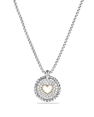 David Yurman Cable Collectibles Heart Charm Necklace with Diamonds with 18K Gold