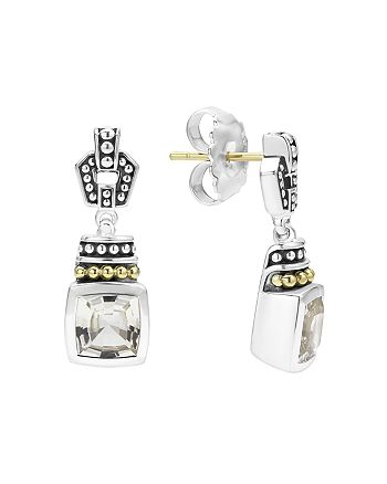 LAGOS - 18K Gold and Sterling Silver Caviar Color Drop Earrings with White Topaz