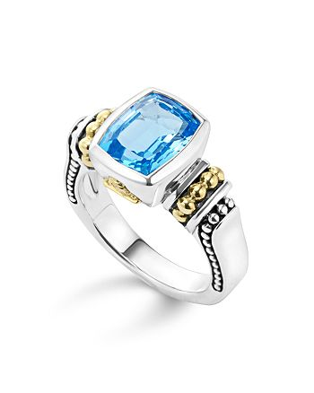 LAGOS - 18K Gold and Sterling Silver Caviar Color Small Ring with Swiss Blue Topaz