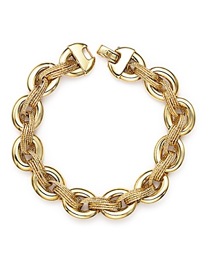 14K Yellow Gold Link Bracelet with Textured Interweave - 100% Exclusive