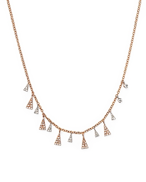 Click here for Meira T 14K White and Rose Diamond Triangles Neckl... prices