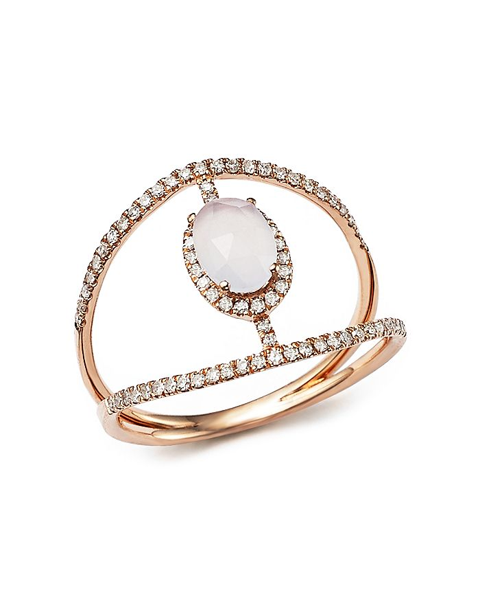 Meira T - 14K Rose Gold Chalcedony Cage Ring with Diamond