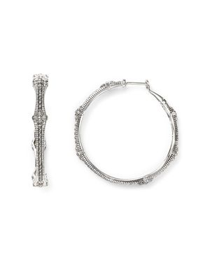JUDITH RIPKA Large Hoop Earrings With Diamonds in White/Silver