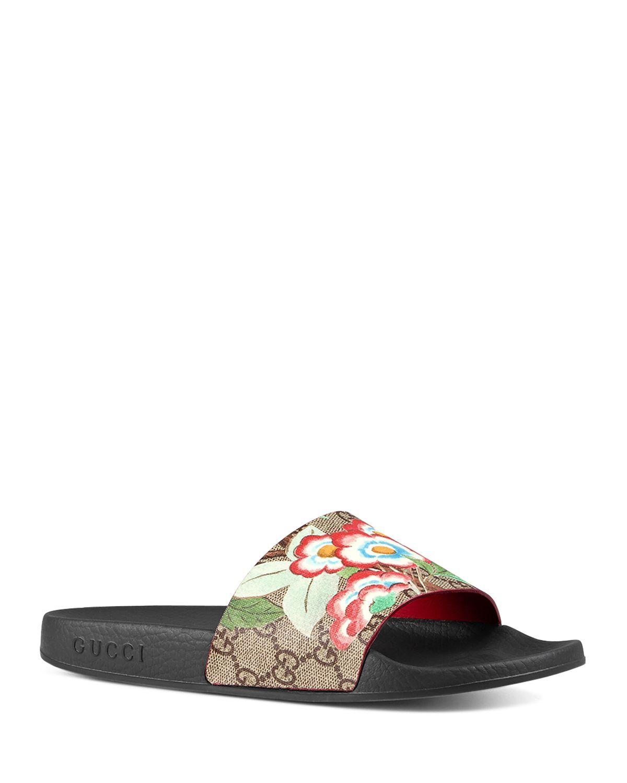 Burberry Floral Canvas Slide Sandals