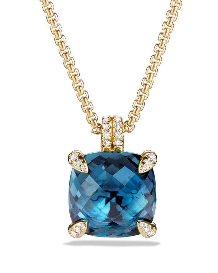 David Yurman - Châtelaine Pendant Necklace with Hampton Blue Topaz and Diamonds in 18K Gold