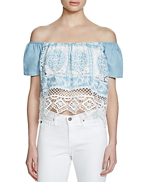 Lucy Paris Off-the-Shoulder Chambray Top - 100% Exclusive