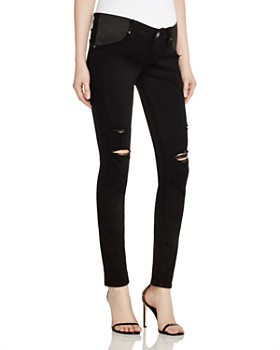 PAIGE - Verdugo Skinny Maternity Jeans in Black Shadow Destructed