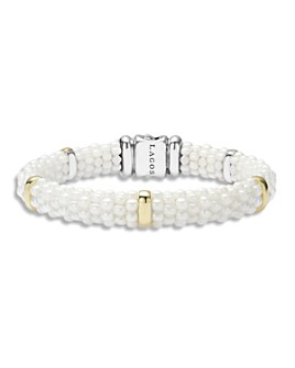 LAGOS - White Caviar Ceramic and 18K Gold 5-Station Bracelet
