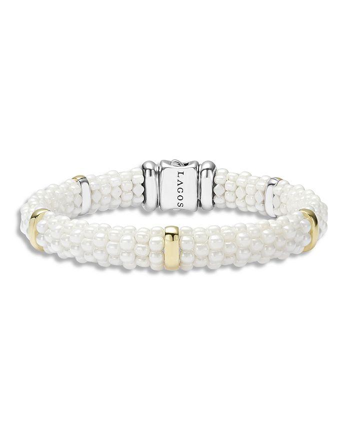 LAGOS - White Caviar Ceramic and 18K Gold 5-Station Bracelet