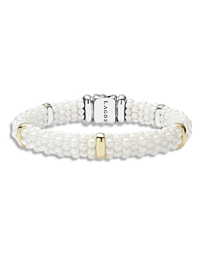 Lagos White Caviar Ceramic and 18K Gold 5-Station Bracelet