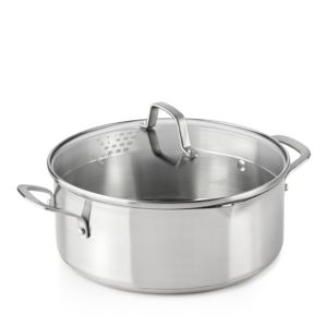Calphalon Classic Stainless Steel Strain-and-Pour 5-Quart Dutch Oven