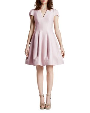 Halston Heritage Short Sleeve V-Neck Tulip Skirt Dress