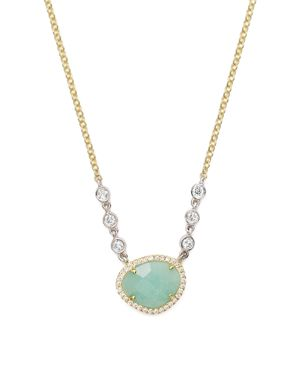 Meira T 14K Yellow and White Gold Amazonite Necklace with Diamonds, 14