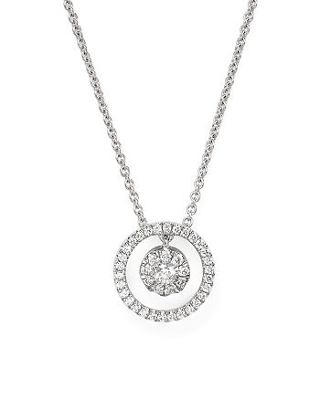 Roberto Coin - 18K White Gold Round Pendant Necklace with Diamonds, 16""