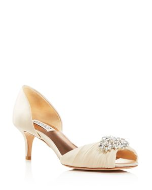 Badgley Mischka Caitlin Embellished d'Orsay Mid Heel Pumps