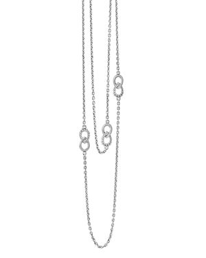 Lagos Sterling Silver Signature Caviar Fluted Station Necklace, 32